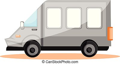 Simple vector illustration of white transport van on white background.