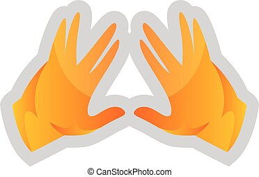 Simple vector illustration on a white background of a yellow Kohen Hands