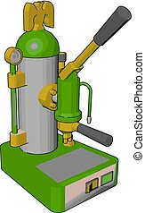 Simple vector illustration on white background of a green and yellow cappuccino maker