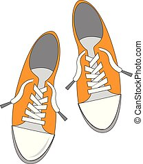 Simple vector illustration on white background of a pair of yellow sneakers