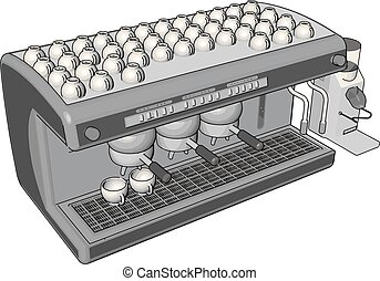 Simple vector illustration on white background of an espresso machine