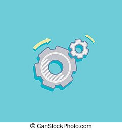 simple vector illustration with a cogwheel icon flat design