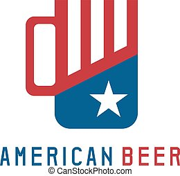 simple vector illustration with beer mug and american flag symbols