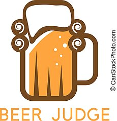 simple vector illustration with beer mug and wig of judge