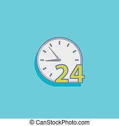 simple vector illustration with open 24 hours a day icon flat de