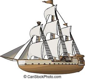 simple, vector, ilustración, de, un, viejo, velero, blanco,...