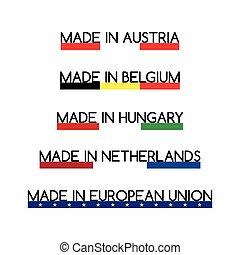 Simple vector logos Made in Austria, Made in Belgium, Made ...