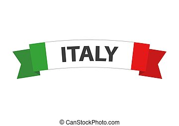 Simple vector Made in Italy symbol, colored Italian ribbon with the Italian tricolor, abstract Italian flag isolated on a white background
