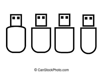 Vector Outline Icon, USB FlashDisk
