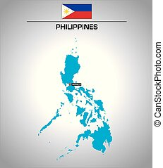 simple vector outline map of philippines with flag