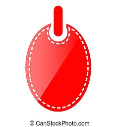 Simple Vector Red Shining Oval Blank Tag, Icon Style, Isolated on White