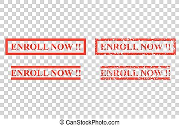 Simple Vector rubber stamp effect, enroll now