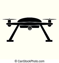 Simple Vector Silhouette of Drone, isolated on white background