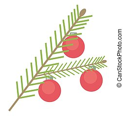 Simple vector spruce green branch with red christmas balls on a white background.