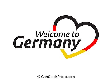 Simple vector symbol Welcome to Germany with heart in the colors of the German tricolor. Modern German icon isolated on white background