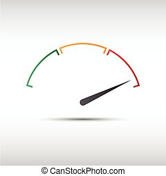 Simple vector tachometer with indicator in red part,...