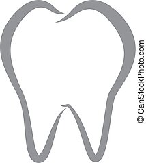 Simple Vector Tooth Line iCon on iSolated White Background