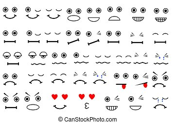 Simple Vector various Expression, isolated on white
