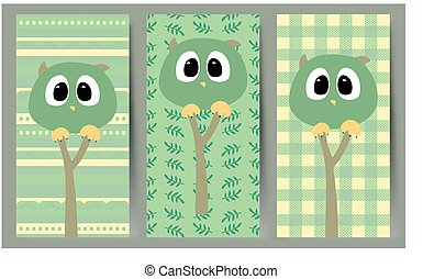Simple vector with funny owls.