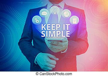 simple., veel, conceptueel, bewaren, begrijpen, foto, tekst...