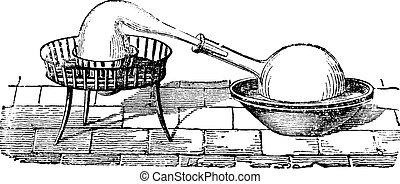 simple, vendimia, aparato, destilación, grabado