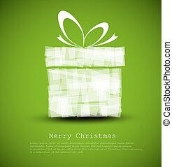 simple, verde, tarjeta de navidad, con, un, regalo