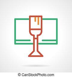 simple, verre, couleur, vecteur, ligne, vin, rouges, icône