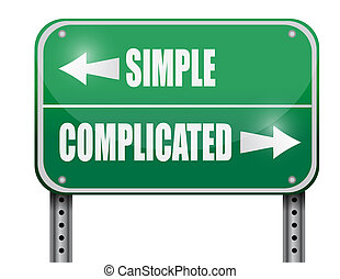 simple versus complicated road sign illustration