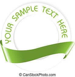 simple, vert, médaillon, cachet, ou, vide