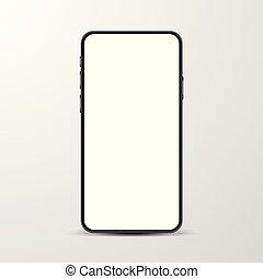 simple, vide, smartphone, blanc, screen., mockup