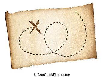 simple, viejo, tesoro, piratas, mapa, con, marcado,...