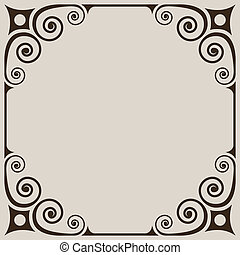 Simple vintage curls frame on beige background.
