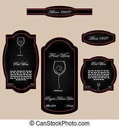 simple vintage wine label black red