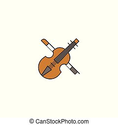 Simple violin icon, filled outline