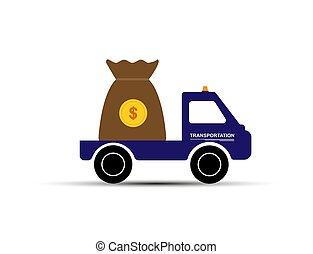 simple, voiture, dessin, argent, sac