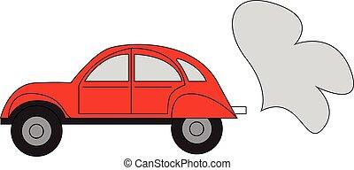 simple, voiture, illustration, vecteur, fond, blanc rouge