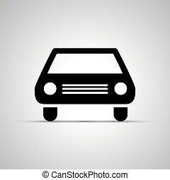 simple, voiture, noir, silhouette, icône