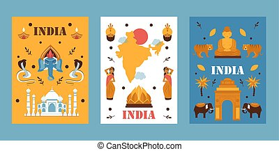simple, voyage, bannière, illustration., tradition, asie, destination, vecteur, symboles, culture, pays, populaire, exotique, plat, religion., indien, conception, inde, nature