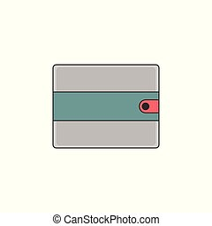 Simple Wallet Vector Outline Icon Illustration