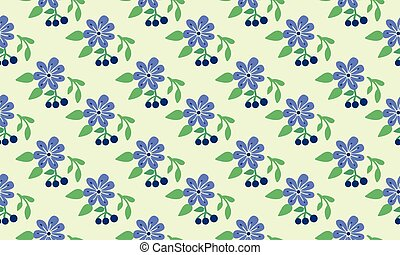 Simple wallpaper for spring, with seamless leaf and flower pattern background design.