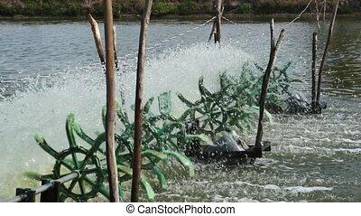 Water Turbines Supplying Fish Pond