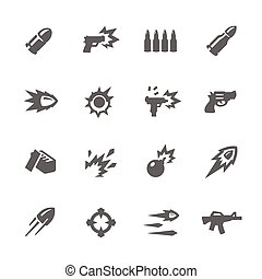 Simple Weapon Icons - Simple Set of Weapon Related Vector...