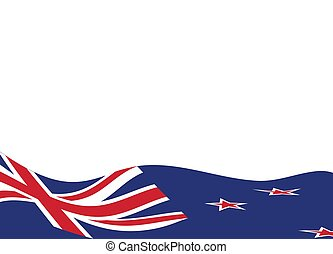 Simple white background with waving flag of the New Zealand.