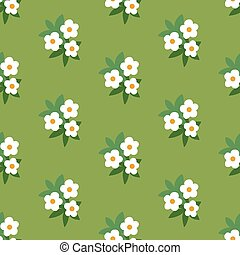 Simple white green floral seamless pattern