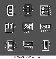 Simple white line air conditioners vector icons