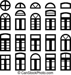 Simple windows of different shape isolated on white...