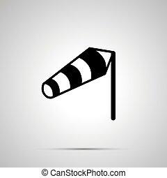 simple, windvane, noir, silhouette, icône