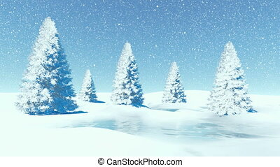 Simple winter landscape with firs - Simple decorative winter...