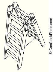Simple wooden stepladder. Black outline illustration on white background. Sketch.