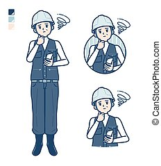 A Man wearing workwear with Holding a smartphone and troubled images.It's vector art so it's easy to edit.